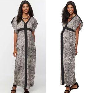 Rachel Zoe Maternity Snake Print Kaftan Maxi Dress